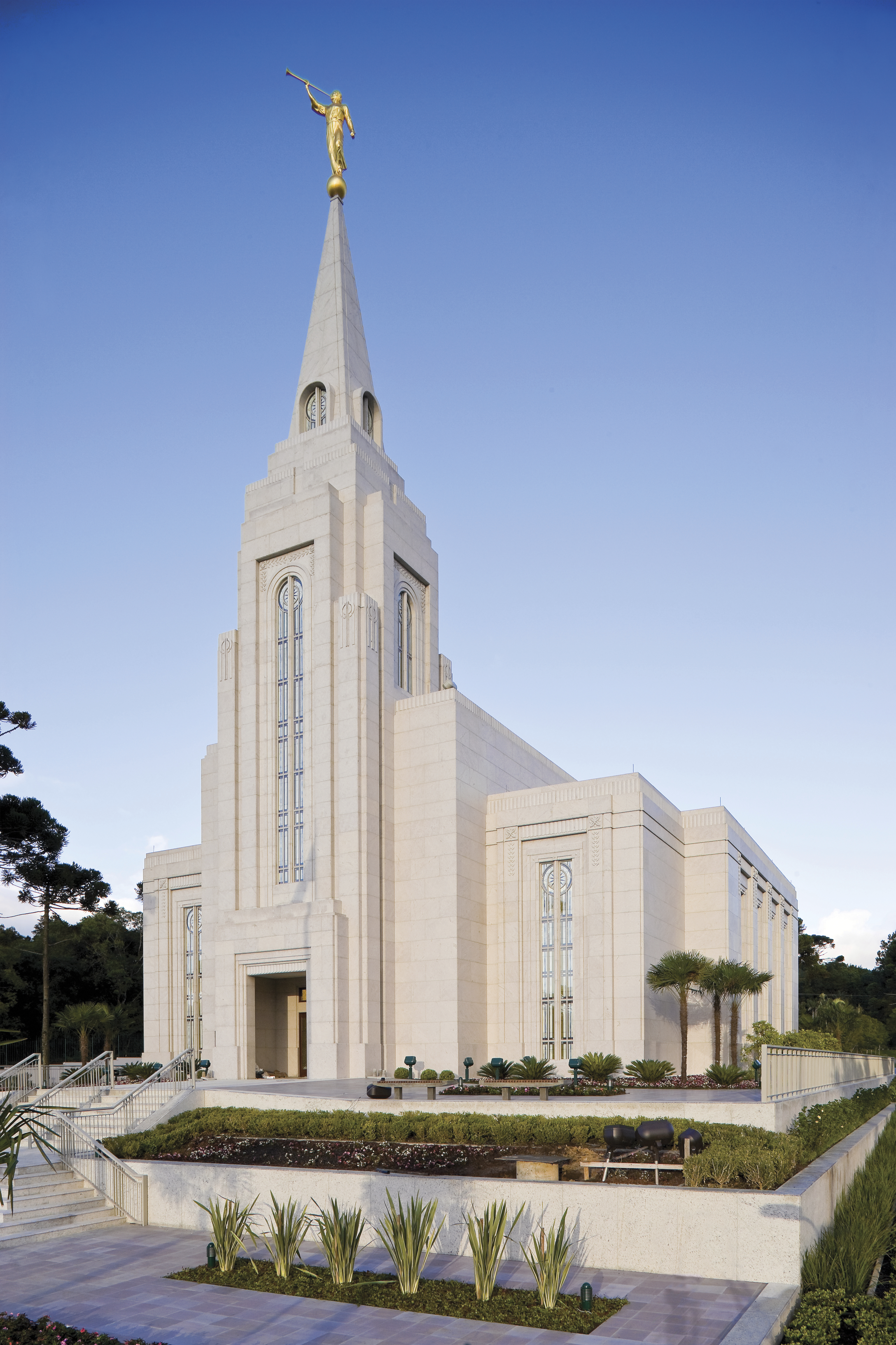 The Curitiba Brazil Temple during the day.