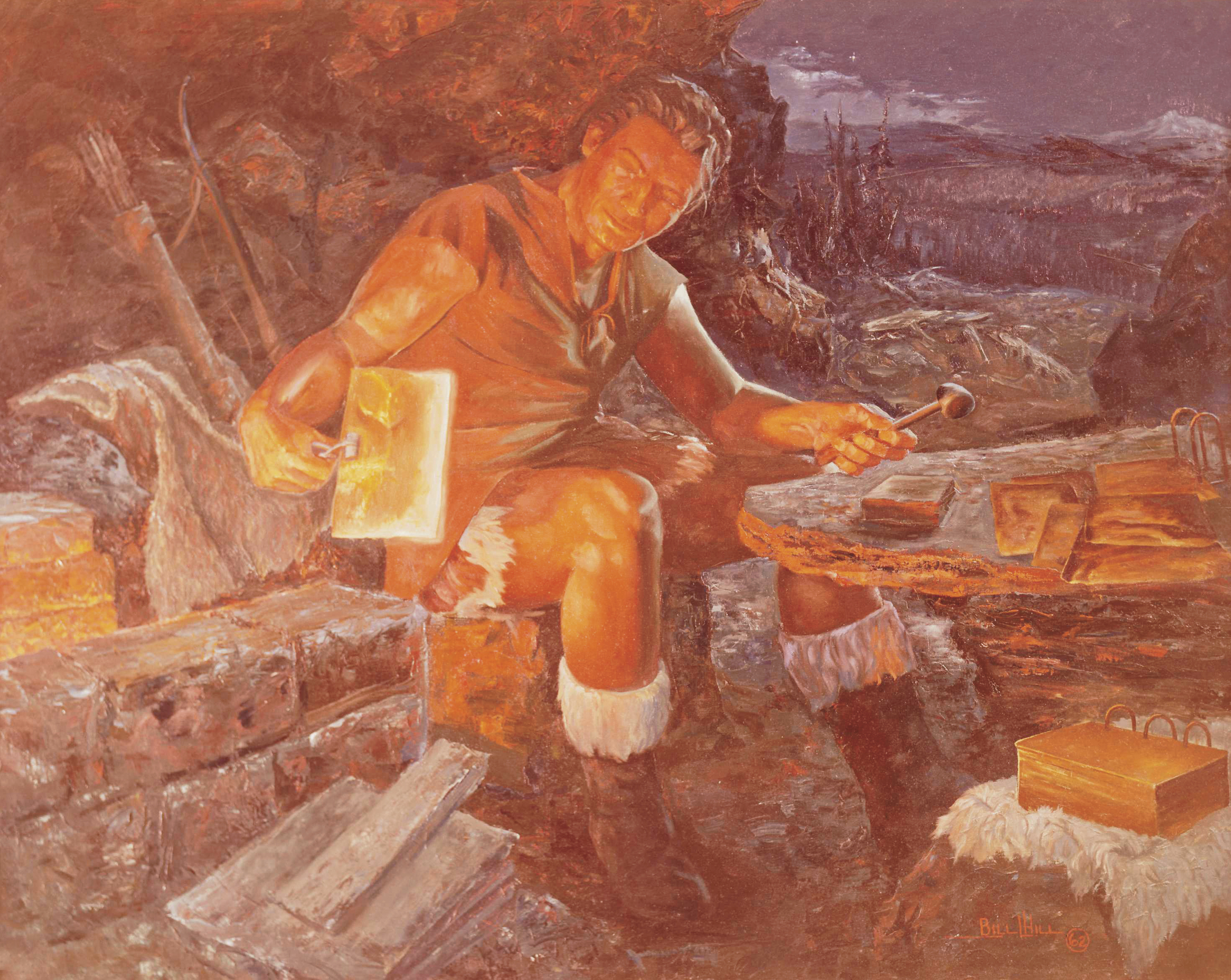 Nephi Fashioning the Plates, by Bill L. Hill