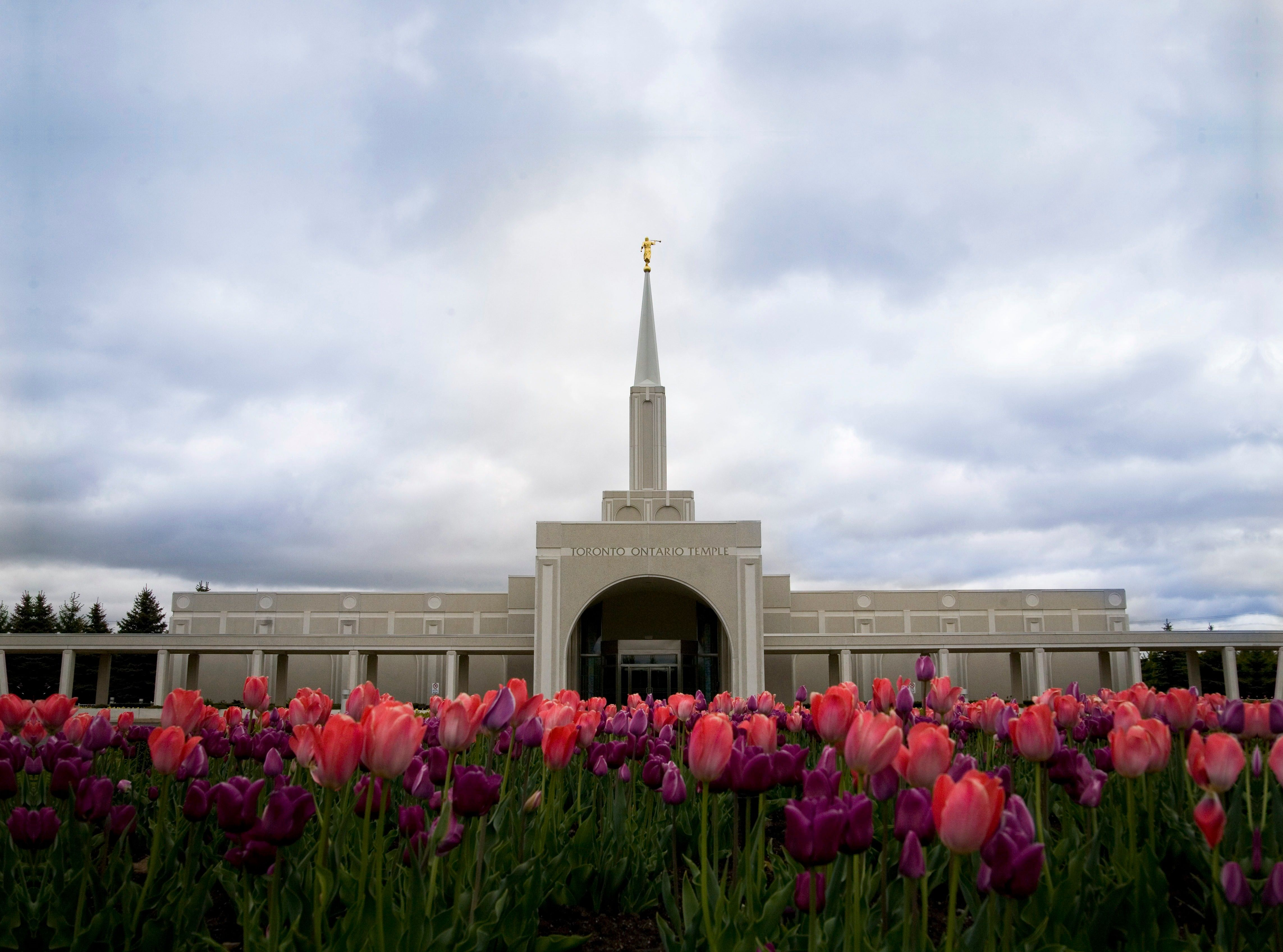 The Toronto Ontario Temple entrance, including scenery.