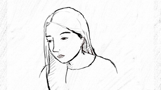 A hand drawn version of a sad girl