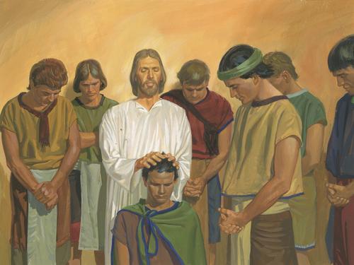 Jesus giving men priesthood