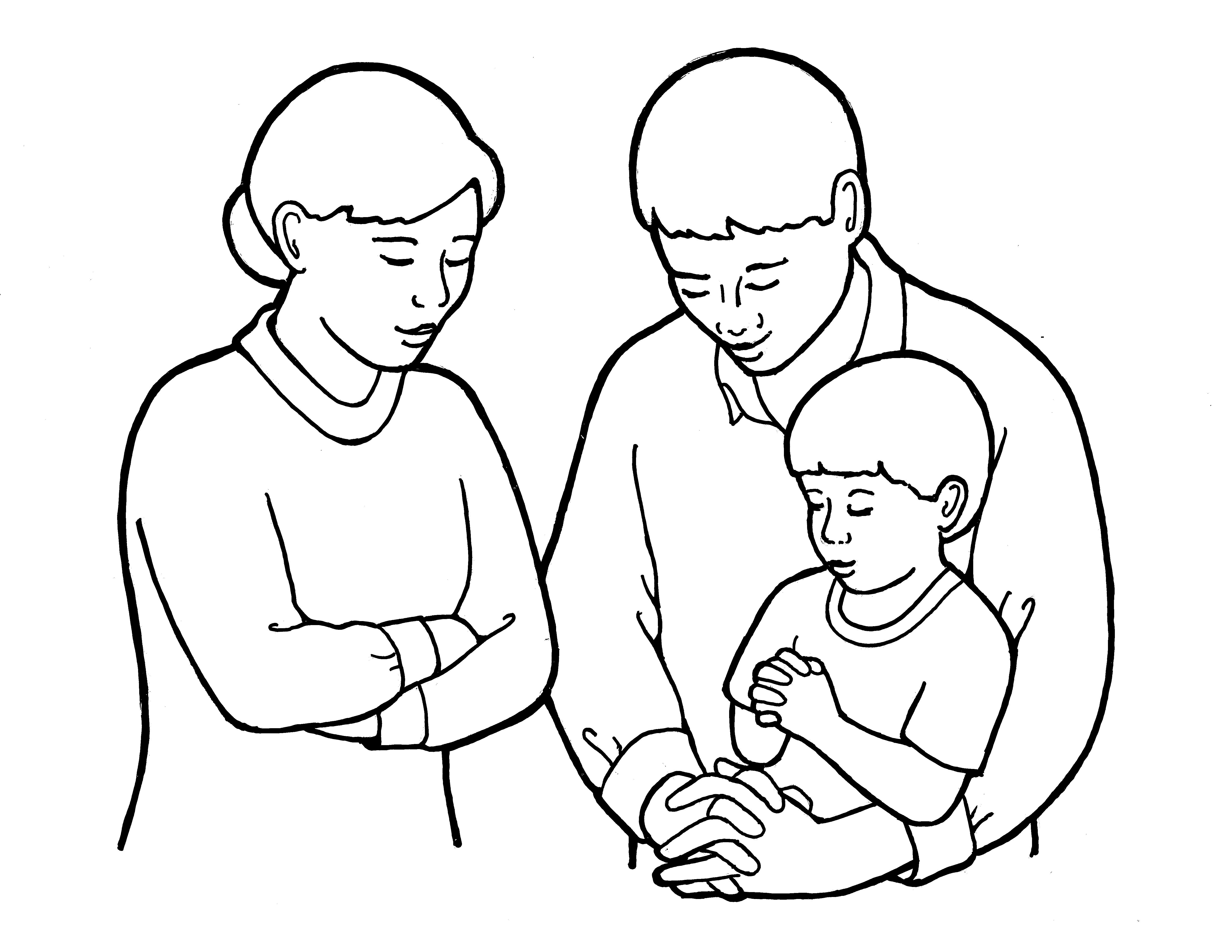 An illustration of parents praying with a young child, from the nursery manual Behold Your Little Ones (2008), page 55.