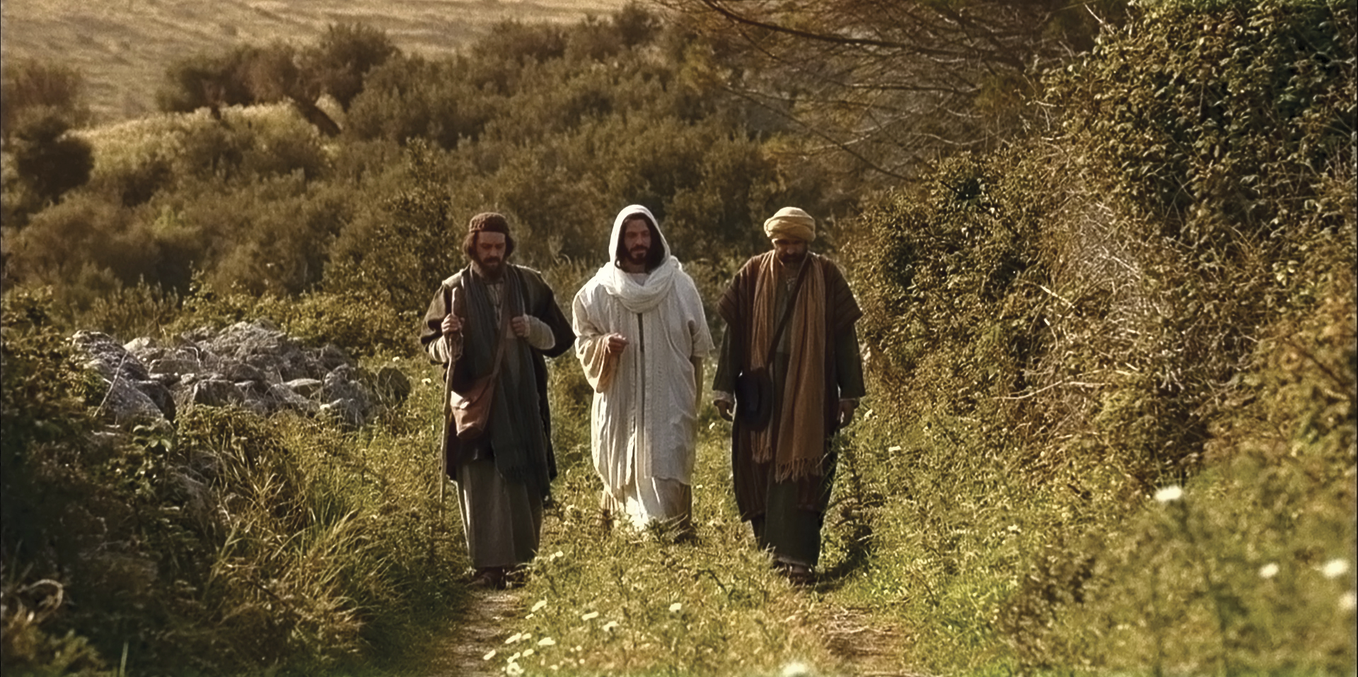 Christ walks with Cleopas and another disciple on the road to Emmaus.