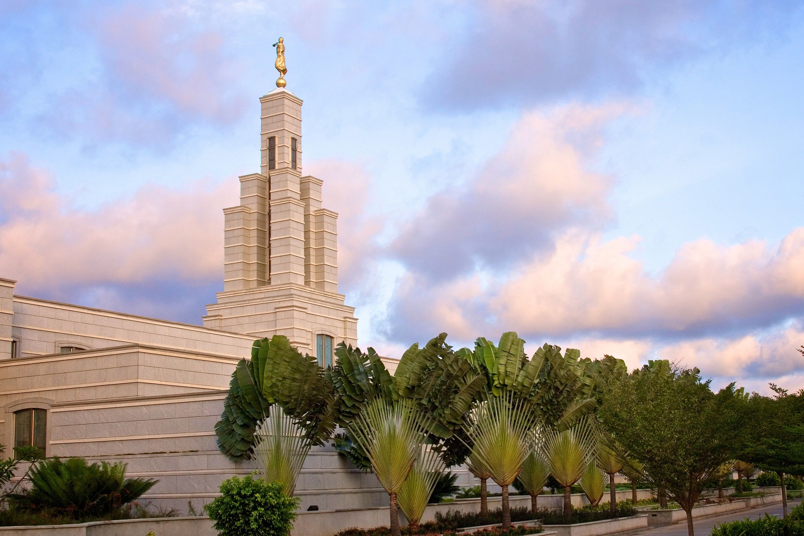 An exterior view of the Accra Ghana Temple during early evening.