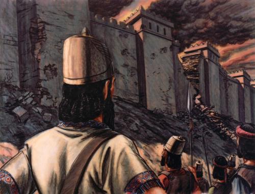 Babylonians tearing down wall