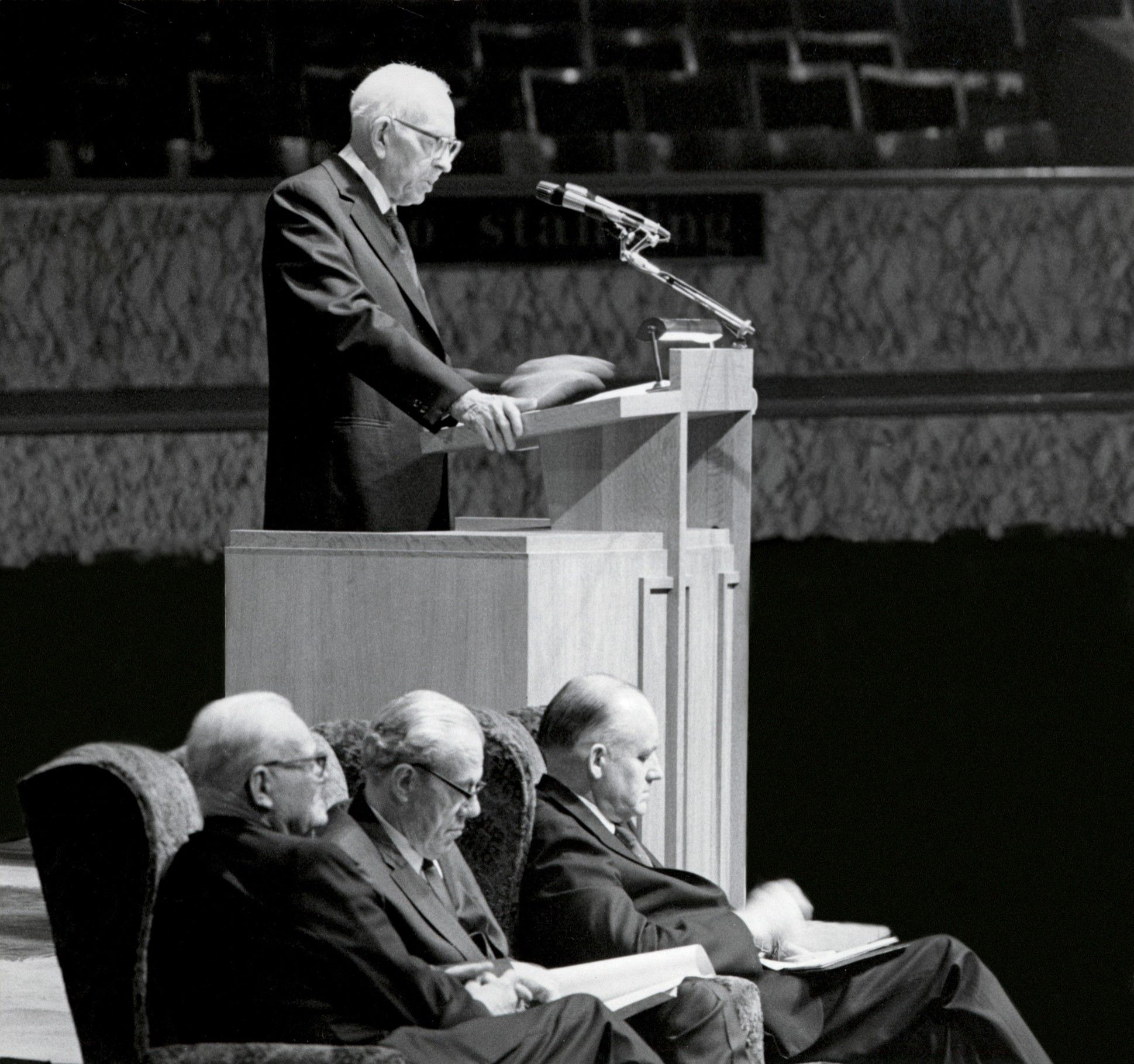 Joseph Fielding Smith standing and speaking at the Manchester area conference in 1971. Teachings of Presidents of the Church: Joseph Fielding Smith (2013), 162